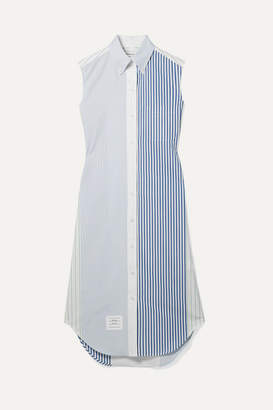 Thom Browne Striped Cotton-poplin Dress - Blue