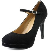 Journee Collection Shelby Women Round Toe Synthetic Black Heels.