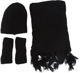 SODIAL(R)Ladies 3pcs Winter Soft Knit Beanie Hat Long Scarf Gloves Set