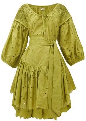 Innika Choo Meg Nettick Floral-embroidered Cotton Dress - Green