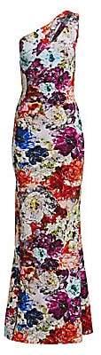 Chiara Boni Women's Floral One-Shoulder Jersey Gown