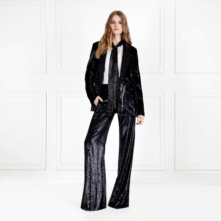 Rachel Zoe Suzy Shiny Velvet Wide-Leg Pants
