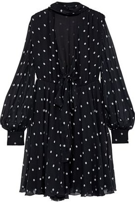 MSGM Polka-dot Silk-chiffon Dress