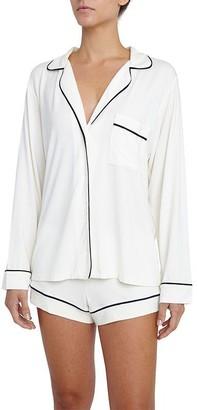 Eberjey Gisele Long Sleeve And Short Pj Set - Ivory/Navy, Xs