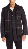 Dockers Wool Melton Walking Coat with Red Plaid Scarf