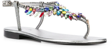 Thumbnail for your product : Emanuela Caruso Jewel Leather Thong Sandals