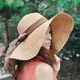 Urparcel Fashion Women Wide Large Brim Floppy Summer Beach Sun Hat Straw Hat Cap with Big Bow