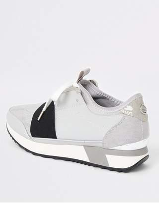 River Island Lace Up Runner Trainers - Grey