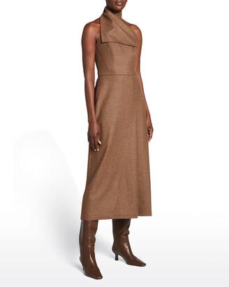 Brandon Maxwell Wool Plaid Midi Halter Dress