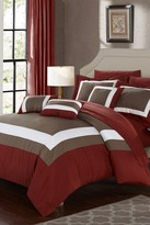 Dylan 10-Piece Complete Colorblock Bedding Collection - Brick