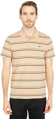 Lacoste Short Sleeve Horizontal Stripe Polo (Navy Blue/Green/WaspWhite) Men's Clothing
