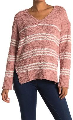 Lush Fuzzy Stripe Print Sweater