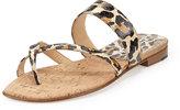 Manolo Blahnik Susa Leopard-Print Snake Flat Thong Sandal, Brown/Black
