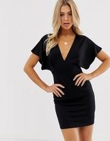 Asos Design DESIGN mini batwing dress in ponte in black