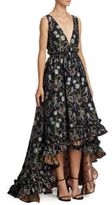Zac Posen Ruffled Floral Silk Hi-Lo Gown
