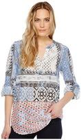 Dylan by True Grit - Harlow Block Print Roll Tab Sleeve Top Women's Short Sleeve Pullover