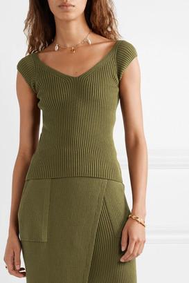 Mara Hoffman Net Sustain Celine Ribbed Organic Cotton Top - Army green
