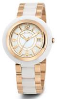 Alor Cavo 43mm Date Watch w/ Ceramic Bracelet Strap, White/Rose