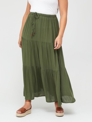 V By Very Curve Crinkle Tiered Maxi Skirt - Khaki