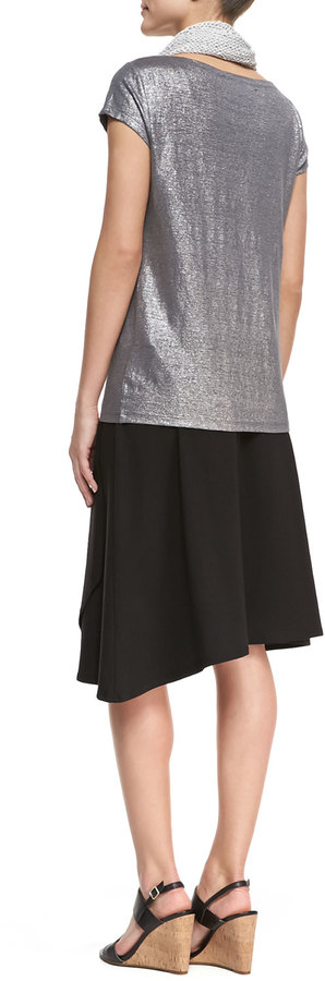 Eileen Fisher Shimmer Cap-Sleeve Top