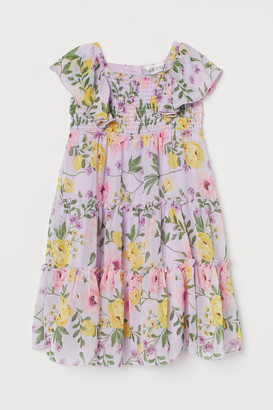 H&M Floral Ruffled Dress - Purple