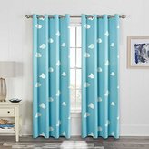 H.Versailtex Printed Soft Microfiber Room Darkening Thermal Insulated & Heating Against Grommet Top Blackout Sky Blue Cloud kids Curtains/Drapers 96 by 52 inch-2 Panels