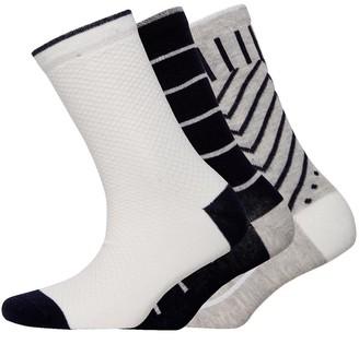 Jaeger Womens Three Pack Geometric Socks Navy Grey