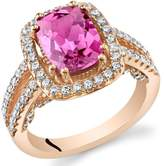 Ice 2 3/4 CT TW Lab-Created Pink Sapphire Rose Gold-Tone Sterling Silver Vintage Halo Ring