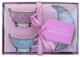 """bombay duck Miss Woodhouse"""" Butterfly Mini Teacups and Saucers, Multi-Colour, Set of 2"""
