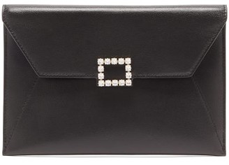 Roger Vivier Tres Vivier Crystal-embellished Leather Pouch - Womens - Black
