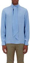 Gucci Men's Silk Tieneck Blouse-LIGHT BLUE