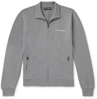 Dolce & Gabbana Melange Loopback Cotton-Jersey Zip-Up Sweatshirt