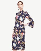 Ann Taylor Morning Glory Keyhole Midi Dress