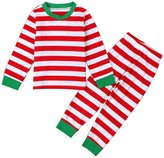 niceEshop(TM) 2pcs Boys Girls Striped Two Piece Christmas Pajama Set Sleepwear