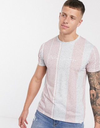 Burton Menswear t-shirt with Palm Springs embroidery in pink stripe-Black