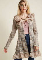 Ryu Train Station Salutations Ruffled Cardigan in Petal in XL - Long Tunic by from ModCloth