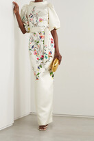Thumbnail for your product : Monique Lhuillier Belted Floral-print Duchesse-satin Gown - White