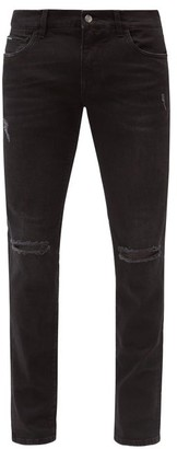 Dolce & Gabbana Distressed Cotton-blend Slim-leg Jeans - Black