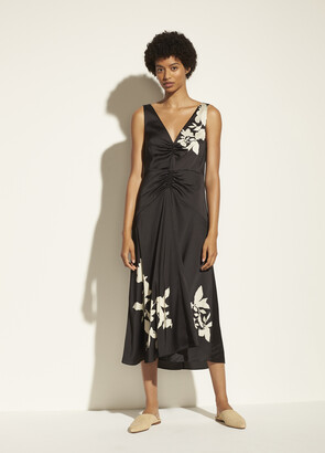 Vince Ruched Satin Floral V-Neck Dress