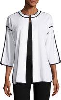 Ming Wang Contrast-Trim Knit Long Jacket, White/Black