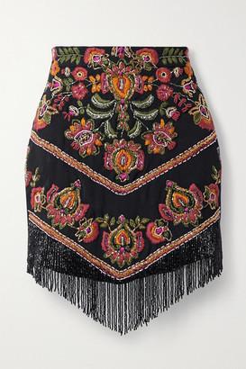PatBO Fringed Bead-embellished Embroidered Woven Mini Skirt - Black