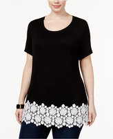 INC International Concepts Plus Size Crocheted-Trim Top, Only at Macy's