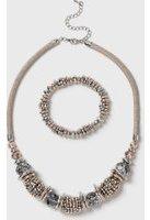 Dorothy Perkins Womens Gold Shamballa Necklace and Bracelet Set- Cream