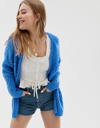 Only cable knit cardigan-Blue