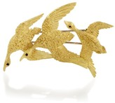 Hermes 18K Yellow Gold & Sapphire Flock of Geese Brooch