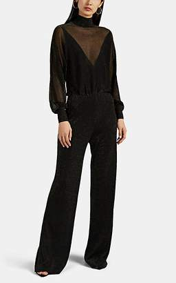 Alberta Ferretti Women's Metallic Mesh Wide-Leg Jumpsuit - Black