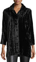 Caroline Rose Long Crinkled Velvet Shirt, Plus Size