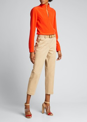 Akris Stand-Collar Long-Sleeve Silk Blouse