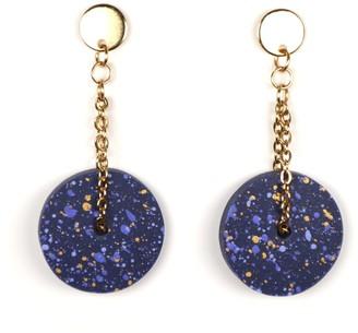 Berf&Bash Chai Chain Dangle Earrings - Navy Gold