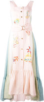 Peter Pilotto embroidered pastel dress - women - Linen/Flax - 8